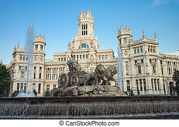 Plaza Cibeles in Madrid - Cybele Palace and fountain at the...