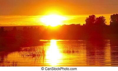 river sunset landscape, timelapse