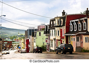 Colorful houses in Newfoundland - Street with colorful...