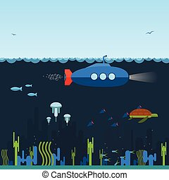 Submarine - Flat, simple blue submarine swimming under the...