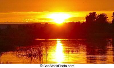 river sunset landscape, zoom in