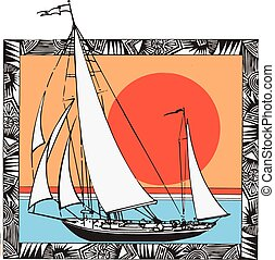 Sailing Sloop-6 colors - Sailboat Design, ocean, 6 colors,...