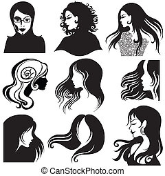 portraits of beautiful woman - Vector set of closeup...