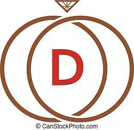 D Letter Ring Diamond Logo