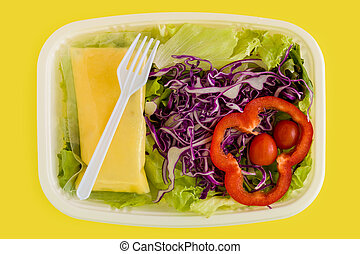 Salad Background Salad Salad on Yellow Background - Fresh...