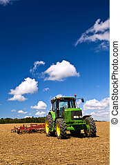 tracteur, labouré, champ