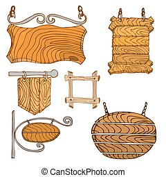 Wooden Signpos - Set of Vector Wooden Signpos Isolated on...