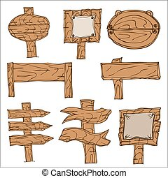 Wooden Signpos - Set of Vector Wooden Signpos. Isolated on...