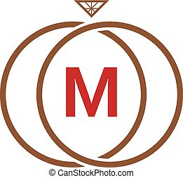 M Letter Ring Diamond Logo - Logo Template