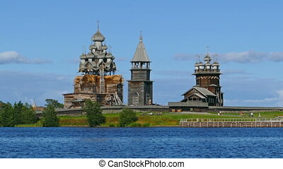 russian wooden architecture on Kizhi - old russian wooden...