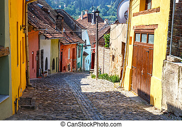 Medieval street view in Sighisoara, Romania