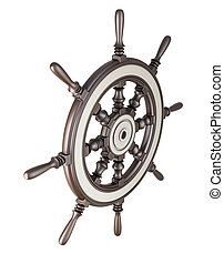 Ship steering wheel isolated on white background. 3d...