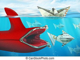Creative finance concept, purse catches money under water -...