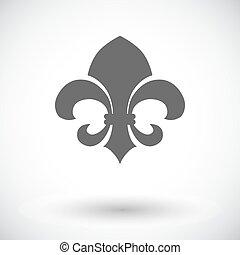 Fleur. Vintage Style. - Fleur. Single flat icon on white...