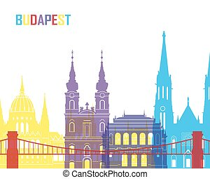 Budapest skyline pop in editable vector file