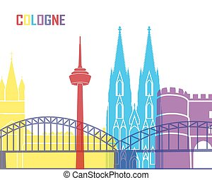 Cologne skyline pop in editable vector file