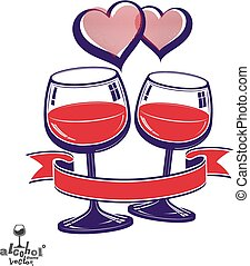 Two wineglasses vector art image