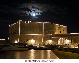 Carlo V Castle by night. Monopoli. Apulia. - This is the...