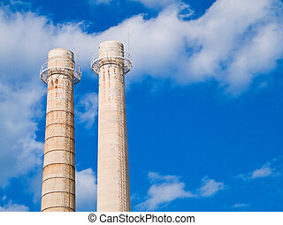 Factory - These are chimneys of a Monopoli factory , an...