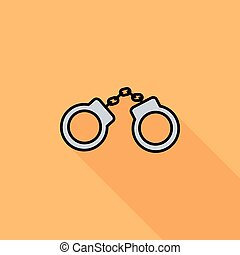Handcuffs icon Flat vector related icon with long shadow for...