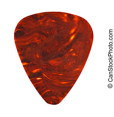 brown guitar plectrum isolated on white