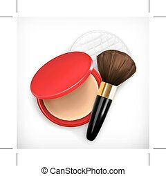 Face powder and brush for make up, icon, isolated on white...