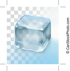 Ice cube for cocktail, object with transparency