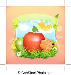 Fresh fruit label apple, illustration background for making...