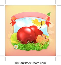 Fresh fruit label cherry, illustration background for making...