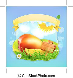 Fresh fruit label mango, illustration background for making...