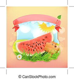 Fresh fruit label watermelon, illustration background for...