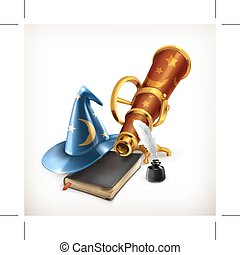 Magician hat and telescope, illustration, isolated on white...