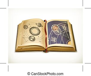 Old book, astrology vector icon - Old book, astrology icon...