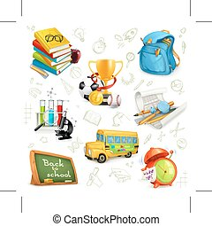 Eucation and knowledge icons - Set with back to school,...