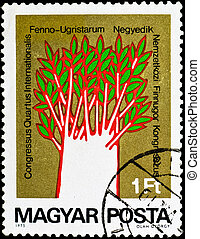 postage stamp show unusual painting tree - HUNGARY - CIRCA...