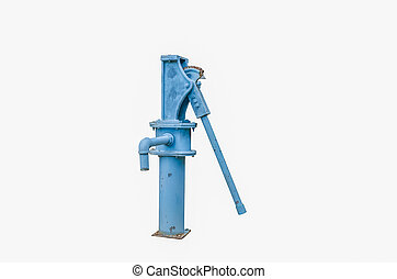 old rusted water pump isolated on a white background with...