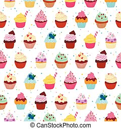 Yummy cupcakes seamless pattern - Yummy cupcakes vector...