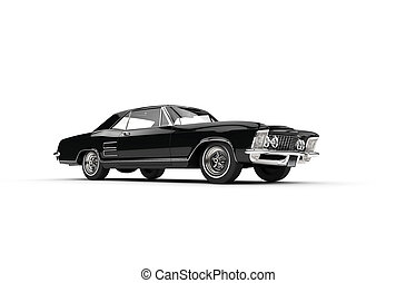 Classic American Car On White Background