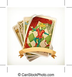 Tarot vintage icon - Tarot, vintage icon, isolated on white...