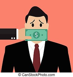 Businessman with dollar banknote taped to mouth. Bribery...