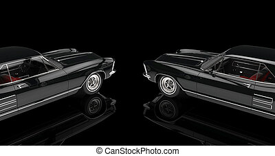 Two Black Cars On Black Background