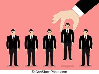 Hand choosing worker from group of businessmen