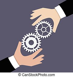 Two businessman hands with gears. Business teamwork concept