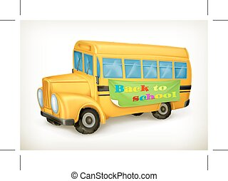 Yellow school bus, back to school icon, isolated on white...