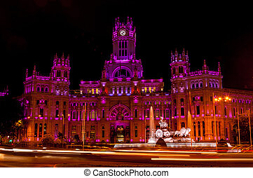 Cybele Palace at night in Madrid - Cybele Palace at the...