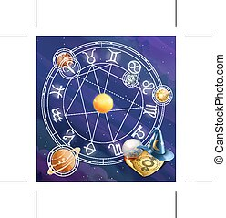 Zodiac signs,background - Zodiac signs, illustration...