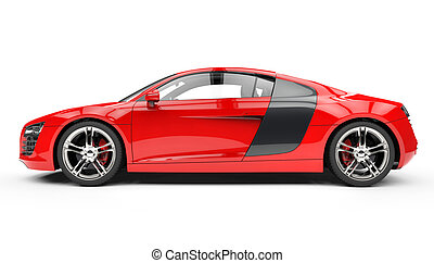 Red Supercar Side View 2