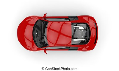 Red Supercar Top View