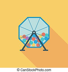 Lotteries icon. Flat vector related icon with long shadow...