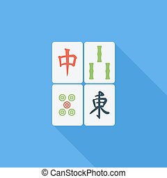 Mahjong icon Flat vector related icon with long shadow for...